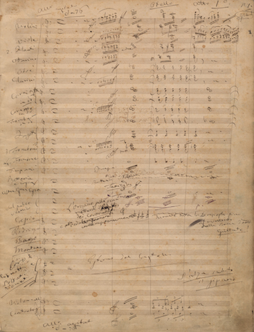First page of the original score of Otello by Giuseppe Verdi, Milan, Teatro alla Scala, 5 February 1887